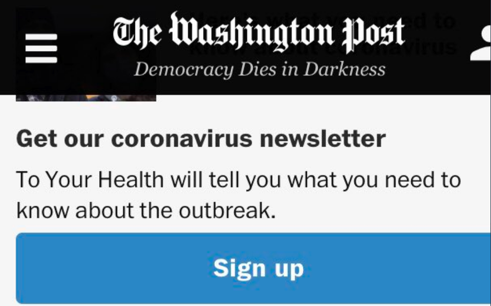 Newsletter coronavirus Washington Post
